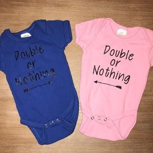 Boy / Girl Twins Double or Nothing Onesies